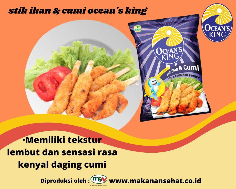 Stik Ikan & Cumi Ocean's King 200 Gr Memiliki tekstur lembut dan sensasi rasa kenyal daging cumi